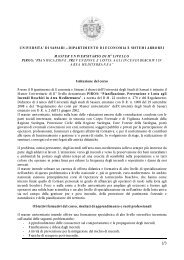 MASTER UNIVERSITARIO DI II° LIVELLO PIROS - Dipartimento di ...