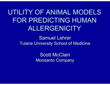 utility of animal models for predicting human allergenicity