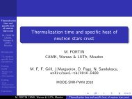 Thermalization time and specific heat of neutron stars crust - Cenbg