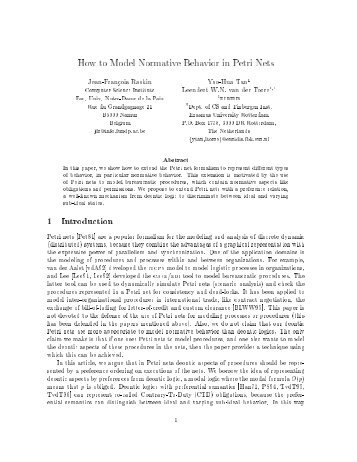 How to Model Normative Behavior in Petri Nets 1 Introduction - Euridis