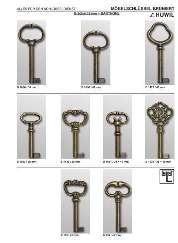 6 möbelschlüssel brüniert - Aachener Sicherheitshaus Rennert