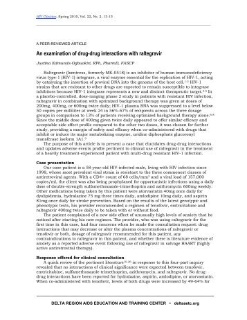 An examination of drug-drug interactions with raltegravir