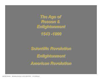 Scientific Revolution, Enlightenment and American Revolution