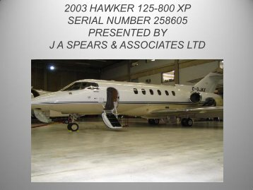 2003 hawker 125-800 xp serial number 258605 presented by ja