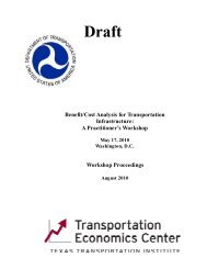 Benefit/Cost Analysis for Transportation Infrastructure - Texas A&M ...