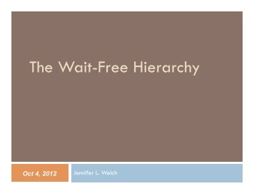 The Wait-Free Hierarchy (pdf)