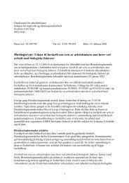 Utkast til forskrift om vern av arbeidstakere mot farer med biologiske ...