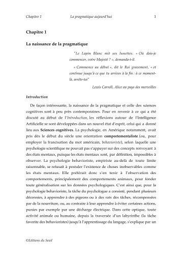 Chapitre 1 - Institut des Sciences cognitives