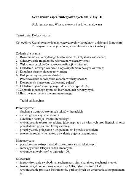 Scenariusz Zajää Zintegrowanych Dla Klasy Iii Profesor