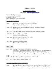 Curriculum Vita - Princeton Theological Seminary