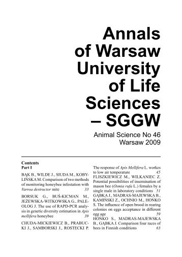 Annals of Warsaw University of Life Sciences – SGGW. Animal ...