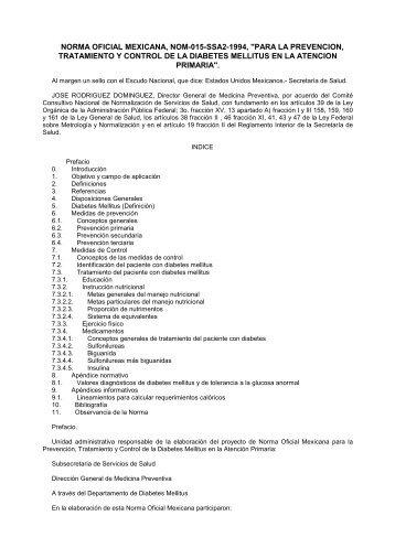 """norma oficial mexicana, nom-015-ssa2-1994, """"para la prevencion ..."""