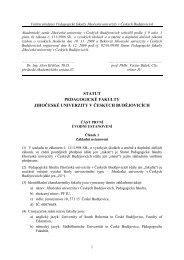 Statut Pedagogické fakulty Jihočeské univerzity v Českých ...