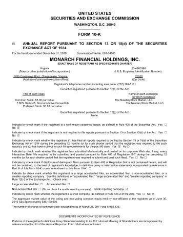 2010 10K Annual Report - Monarch Bank