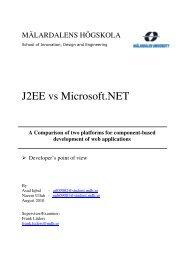 J2EE vs Microsoft.NET - Research - Mälardalens högskola