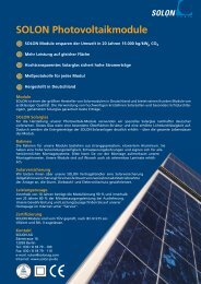 SOLON Photovoltaikmodule - Better Energy AG