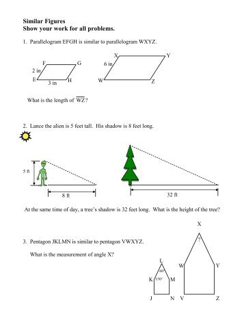 Similar Figures And Indirect Measurement Worksheet