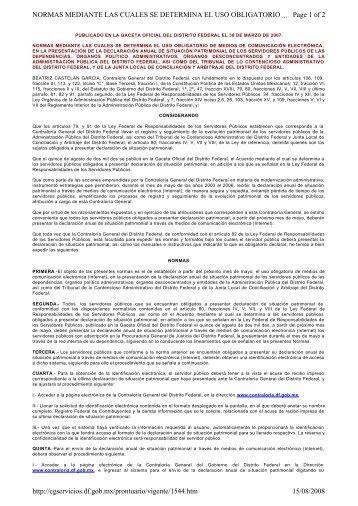 Page 1 of 2 NORMAS MEDIANTE LAS CUALES SE DETERMINA ...