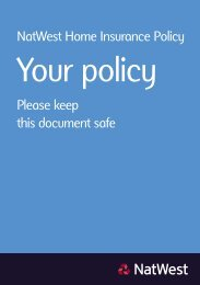 NatWest Home Insurance Policy Please keep this document safe