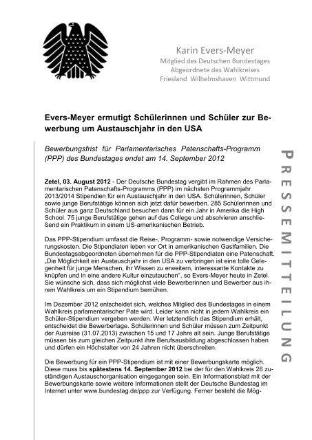 PRESSEMITTEILUNG VOM 03.08.2012 - Karin Evers-Meyer