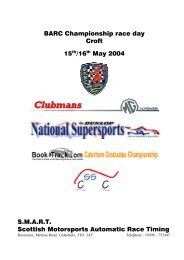 BARC Championship race day Croft 15th/16th May ... - SMART Timing