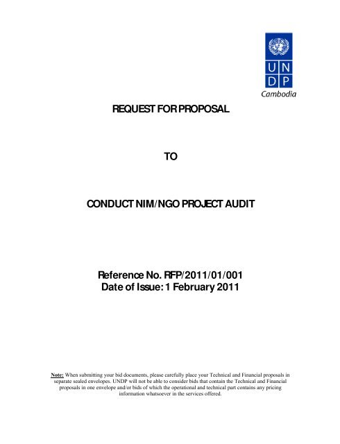 REQUEST FOR PROPOSAL TO CONDUCT NIM/NGO PROJECT
