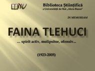 Faina TLEHUCI - Biblioteca Ştiinţifică a Universităţii de Stat