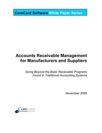 Accounts Receivable Management for Manufacturers and Suppliers