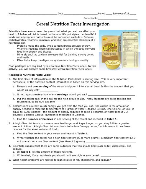 Cereal Nutrition Facts Investigation