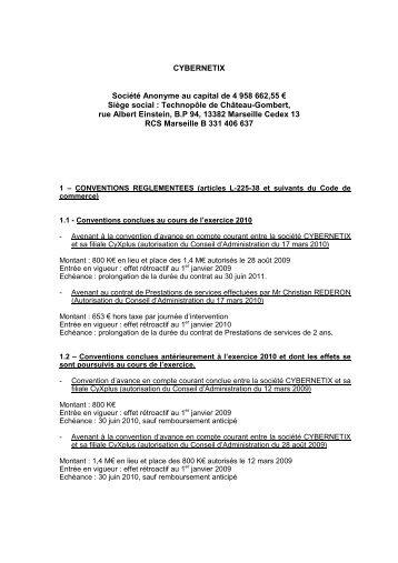 Liste des conventions règlementées - Cybernetix