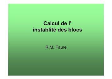 Calcul de l' instablité des blocs - PENTES et TUNNELS