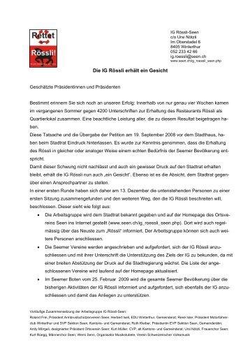 Die IG Rössli erhält ein Gesicht - Der Ortsverein Seen