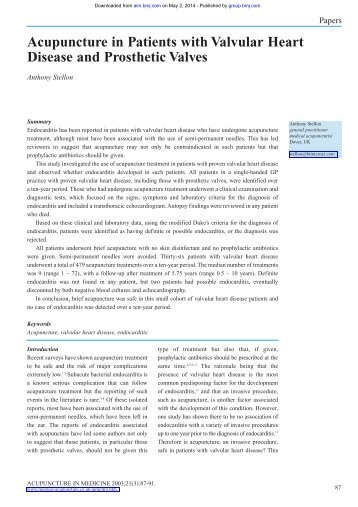 Acupuncture in Patients with Valvular Heart Disease and Prosthetic ...