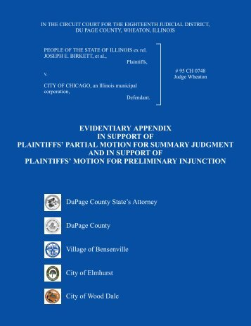 evidentiary appendix in support of plaintiffs' partial motion for ...
