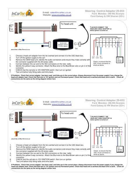 [SCHEMATICS_4HG]  Steering Control Adapter 29-653 Steering ... - www.incartec.co.u | Key Switch Wiring Diagram For 653 |  | Yumpu