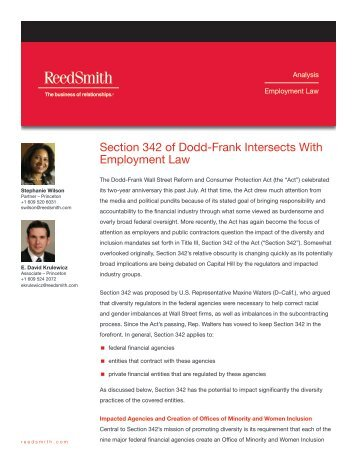 Section 342 of Dodd-Frank Intersects With ... - Reed Smith