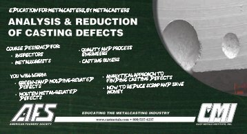 ANALYSIS & REDUCTION OF CASTING DEFECTS