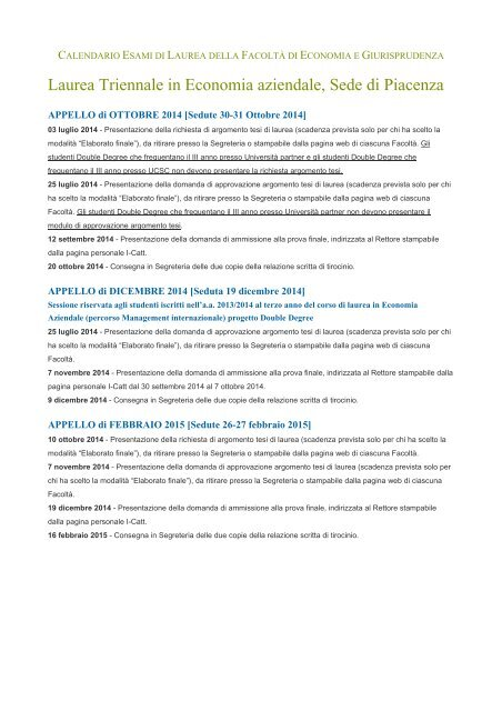 Unicatt Calendario Esami.Laurea Triennale In Economia Aziendale Sede Di Piacenza