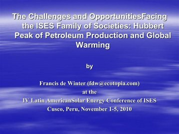 The Challenges and OpportunitiesFacing the ISES Family of Societies