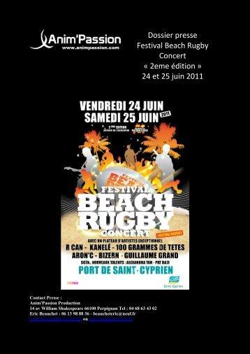 Dossier presse Festival Beach Rugby Concert - Ville de Saint Cyprien