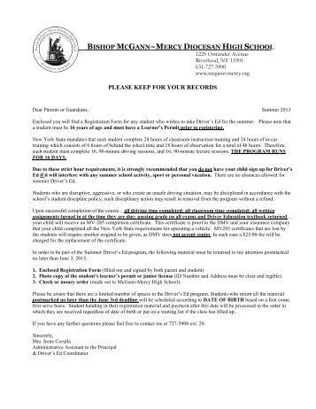 driver education registration - McGANN Mercy