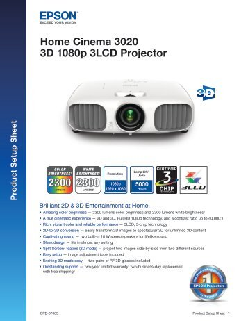 Home Cinema 3020 3D 1080p 3LCD Projector - Projector People