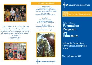 Formation Program for Educators - St Columbans Mission Society