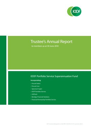 Trustee's Annual Report - IOOF Portfolio online > Login