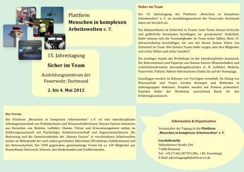 Infoflyer - Plattform Menschen in komplexen Arbeitswelten e.V.