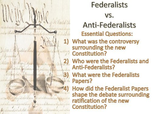 Federalist V Antifederalist