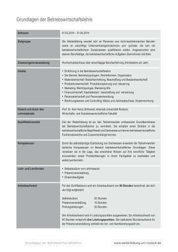Grundlagen der Betriebswirtschaftslehre - Universität Rostock
