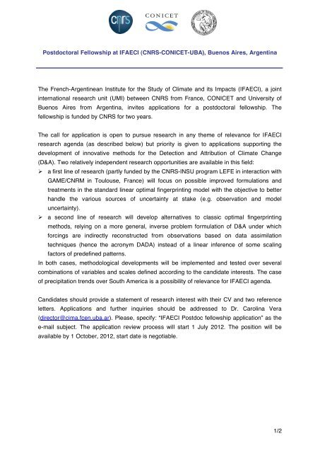 POSTDOCTORAL FELLOWSHIP AT UMI 2b - Lists rdg ac uk