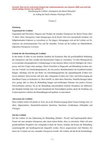 """Kurzfassung der Leitlinie """"Osteoporose des älteren ... - DVO"""