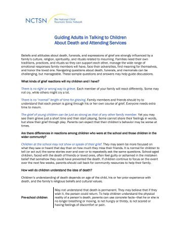 Talking to Children About Death and Attending Services